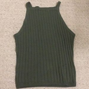 Green ribbed divided tank top.
